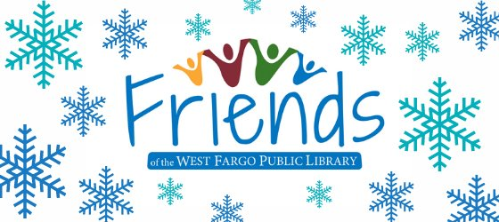 Friends of the West Fargo Public Library logo surrounded by snowflakes