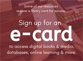 Sign up for an e-card to access digital books and media, databases, online learning and more.
