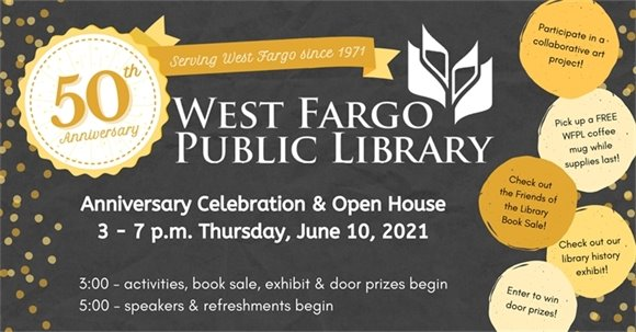 West Fargo Public Library 50th Anniversary graphic