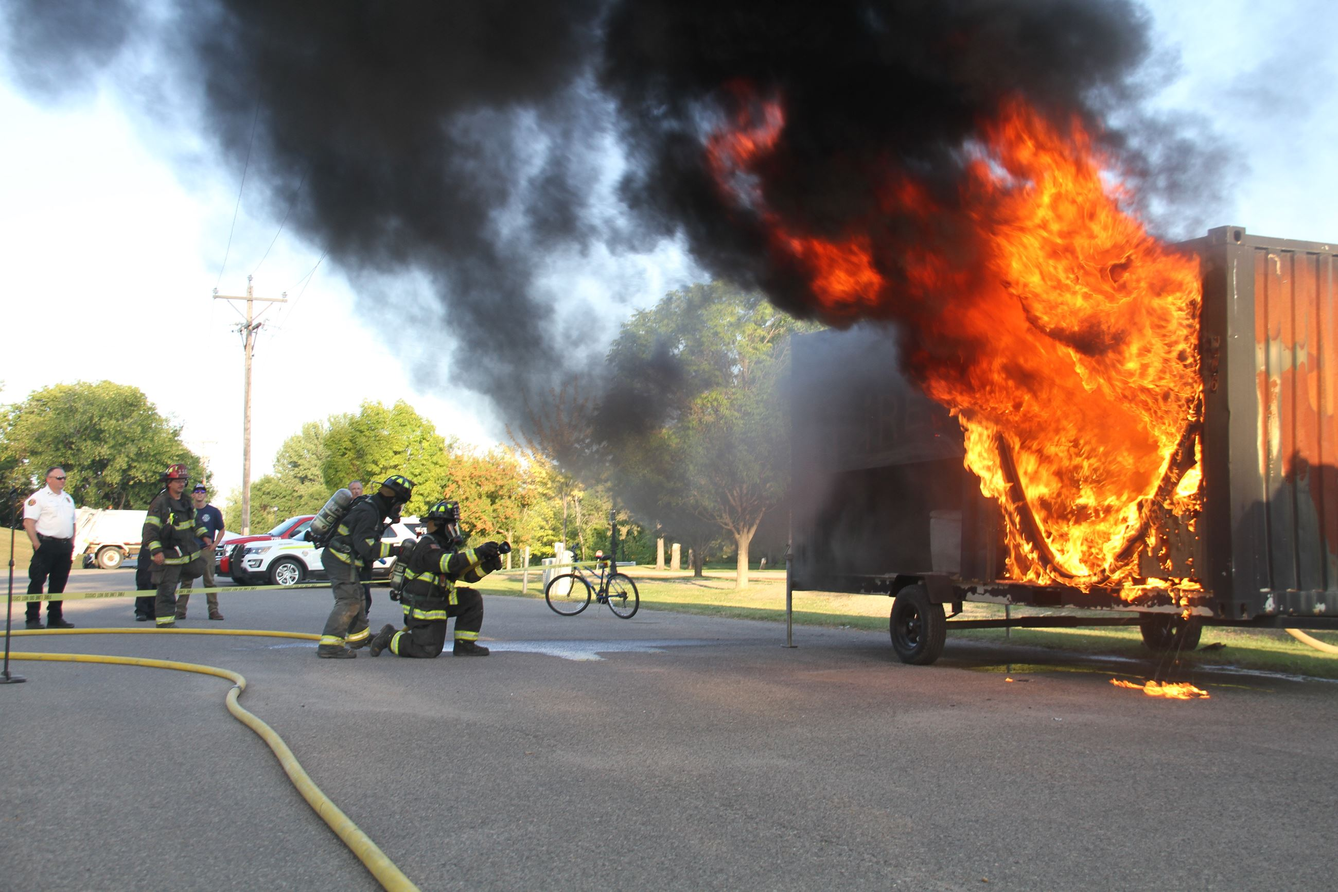 West Fargo Fire Department house fire demonstration