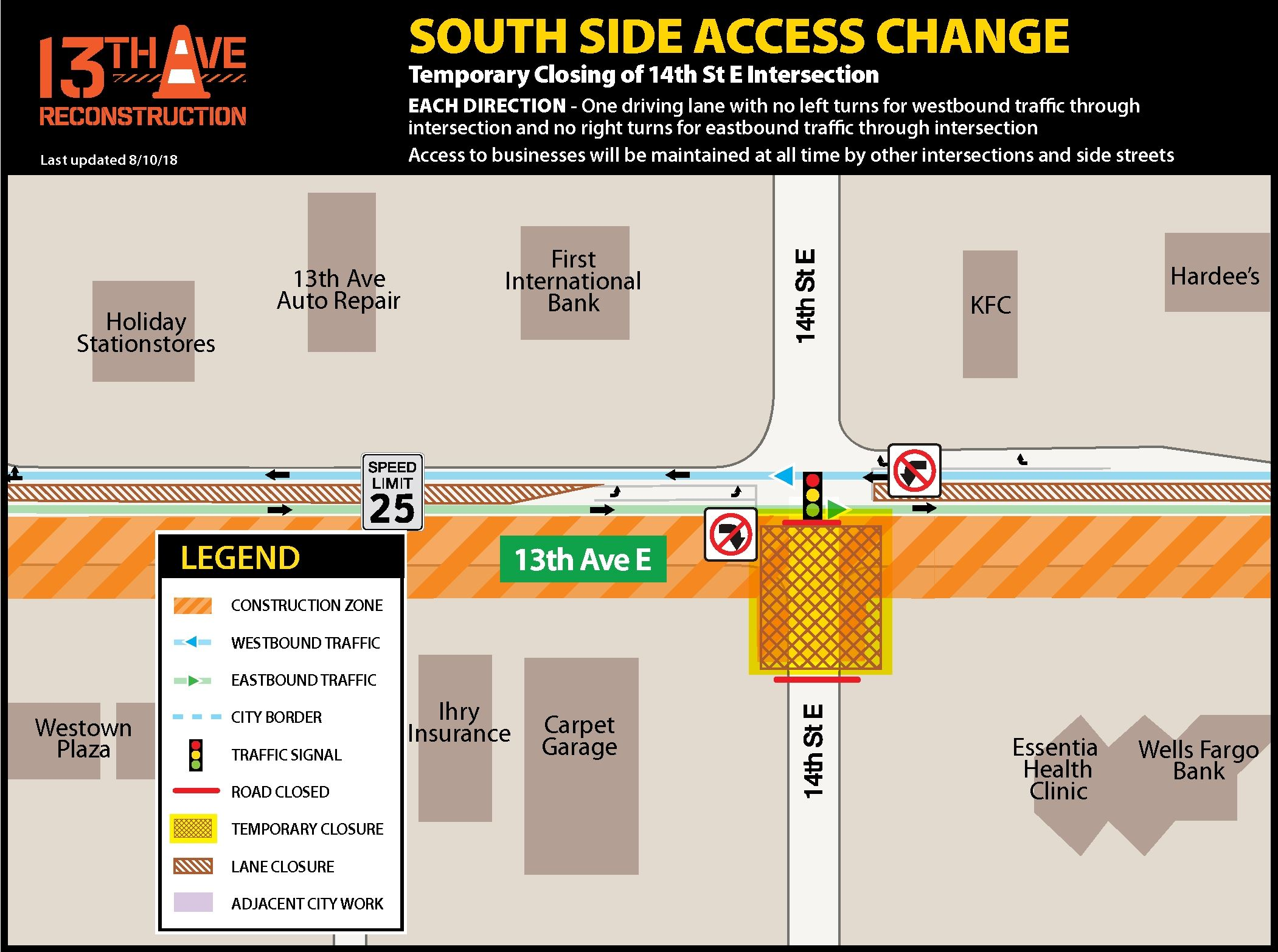 Southside access change at 14th St E.