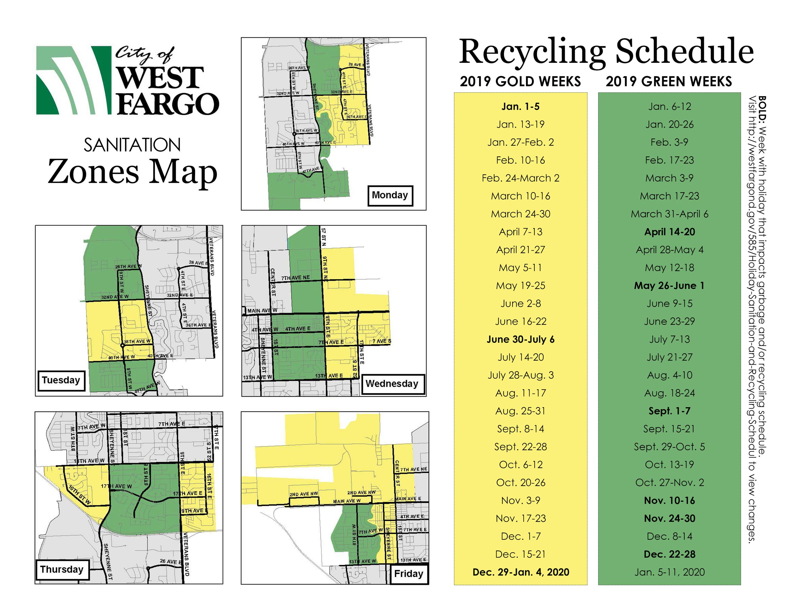 2019 Sanitation Map and Recyling Zones