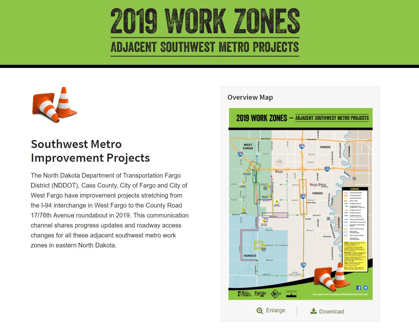 2019 Southwest Metro Work Zones Map