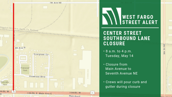 Center Street SB Lane Closure May 14
