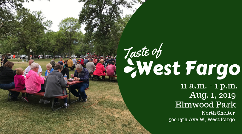 Advertisement for Taste of West Fargo featuring people eating at picnic tables