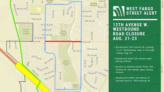 13th Avenue W. westbound road closure Aug. 21-23