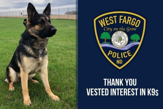 West Fargo Police Department K9 Brewtus will receive protective armor from Vested Interest in K9s.