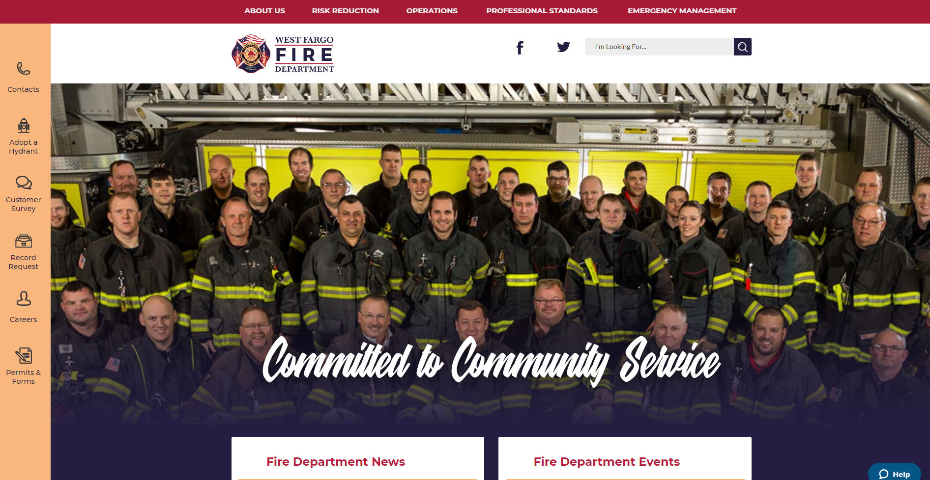 New home page of the West Fargo Fire Department