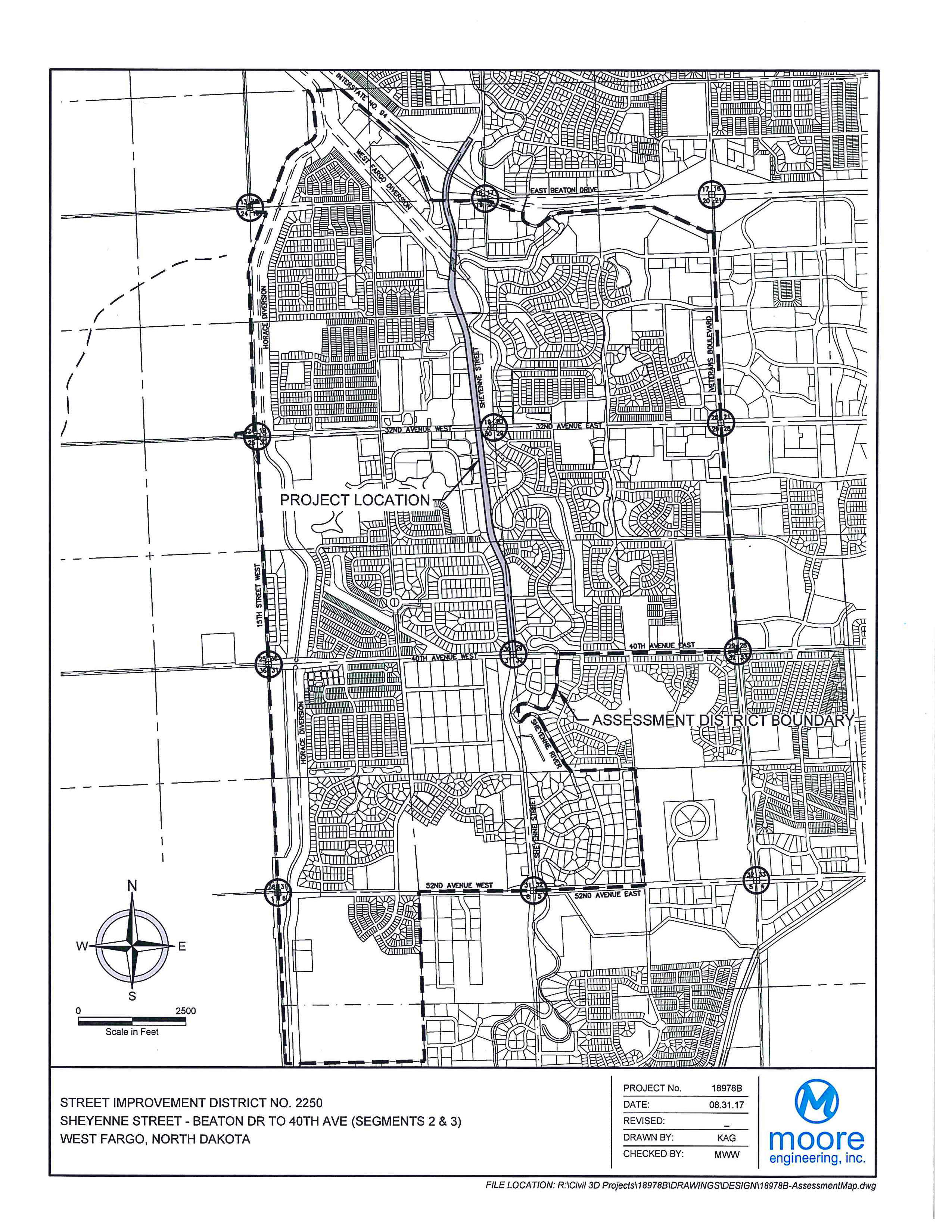District No. 2250 Sheyenne Street - Beaton Drive to 40th Avenue W. Assessment District Boundary Map