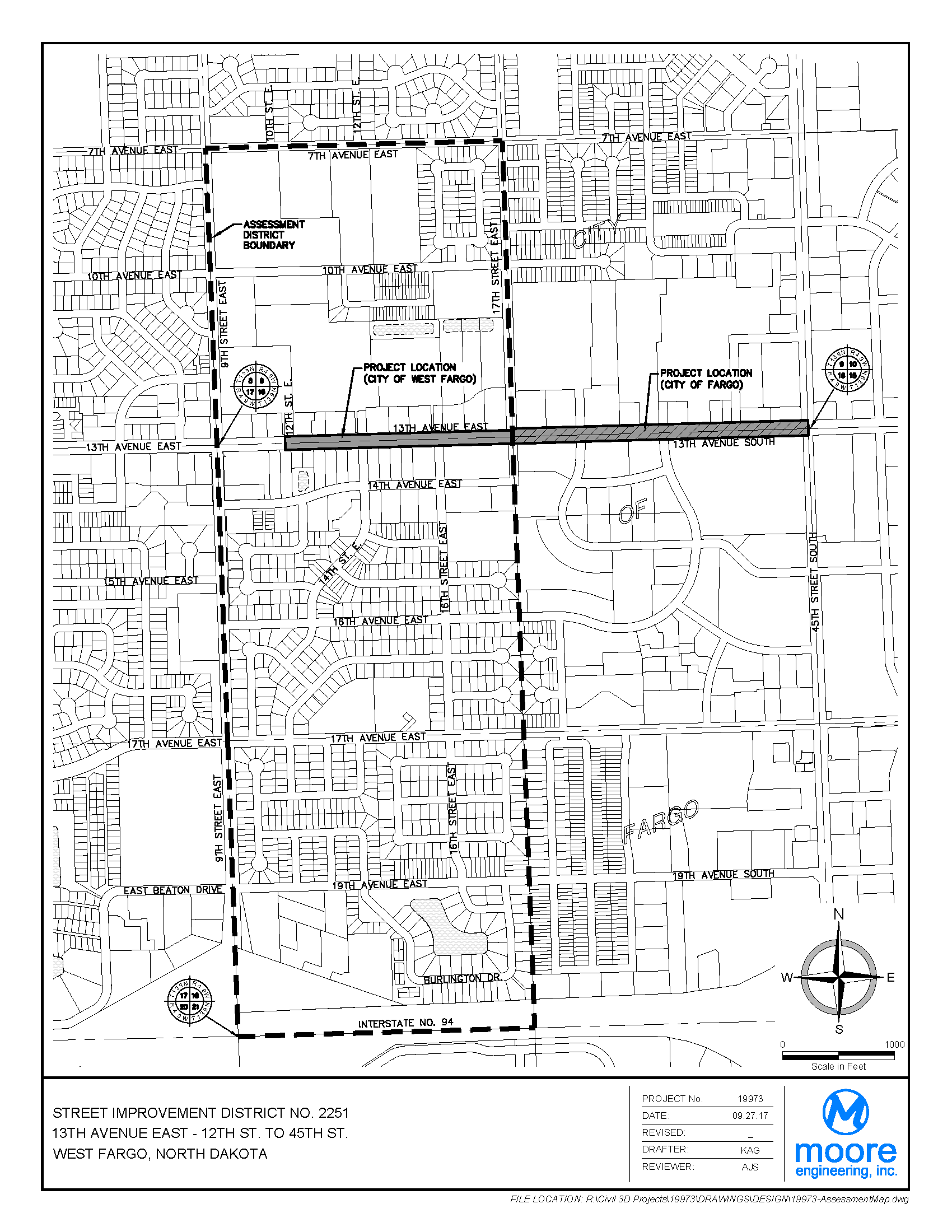 District No. 2251 13th Avenue E. - 12th to 17th Street E. Assessment District Boundary Map