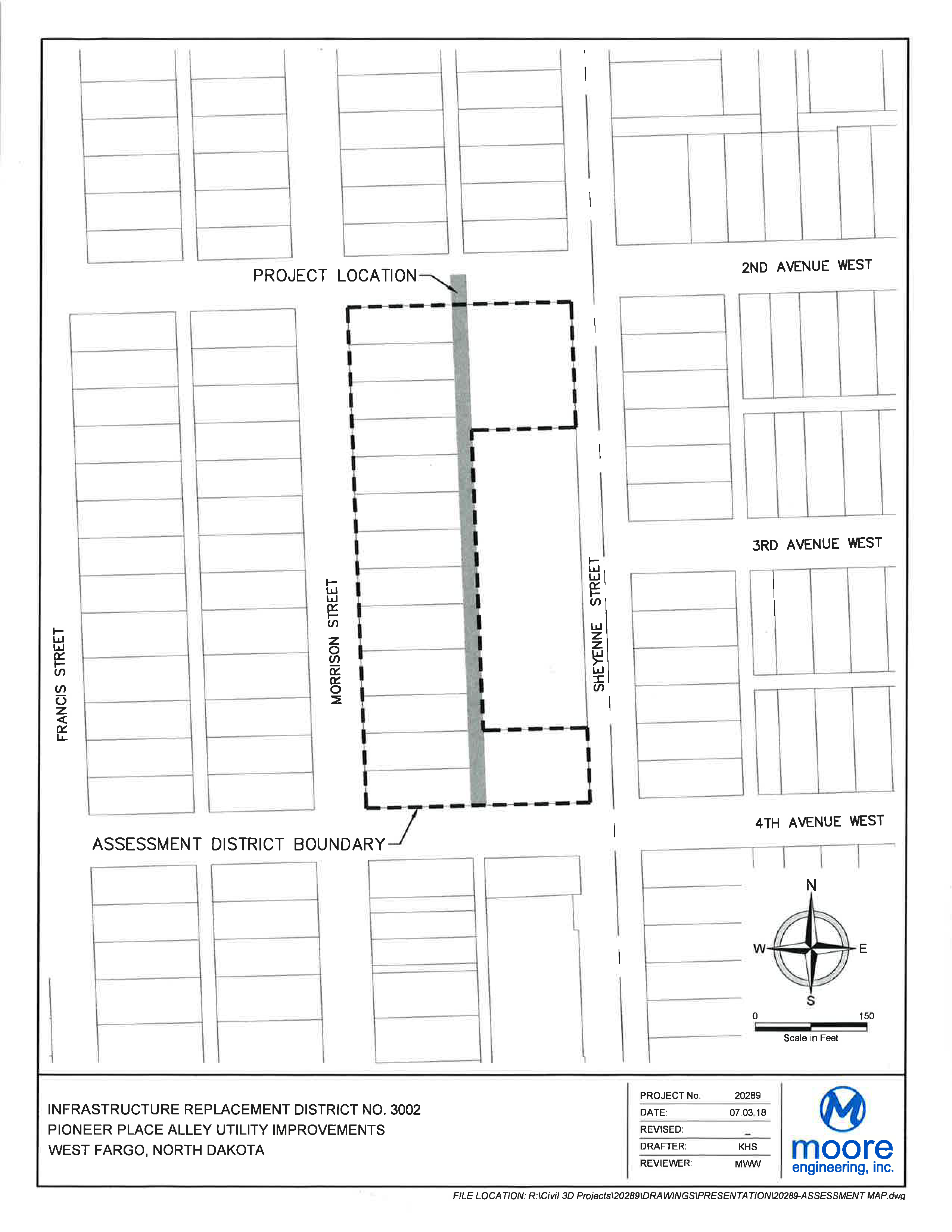 District No. 3002 Pioneer Place Alley Utility Improvements Assessment District Boundary Map
