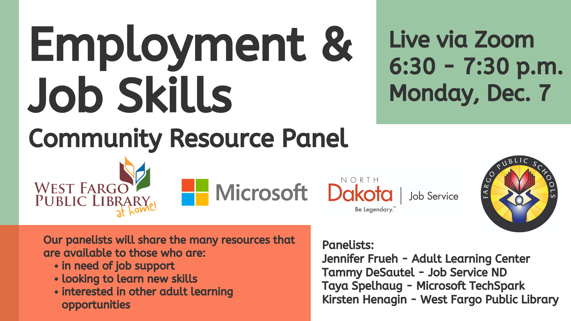 Employment and Job Skills Community Resource Panel