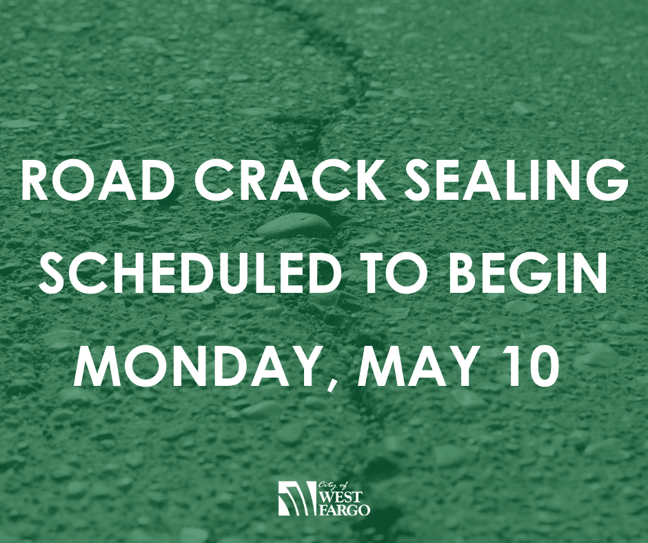 ROAD CRACK SEALING SCHEDULED TO BEGIN MONDAY, MAY 10