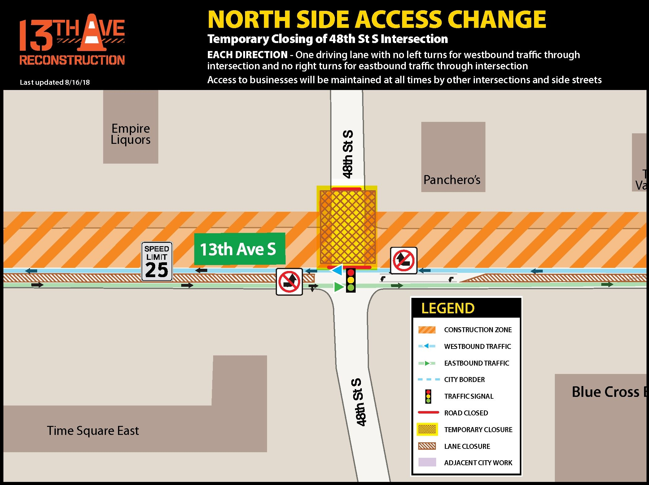Temporary closing of 48th St. S. intersection