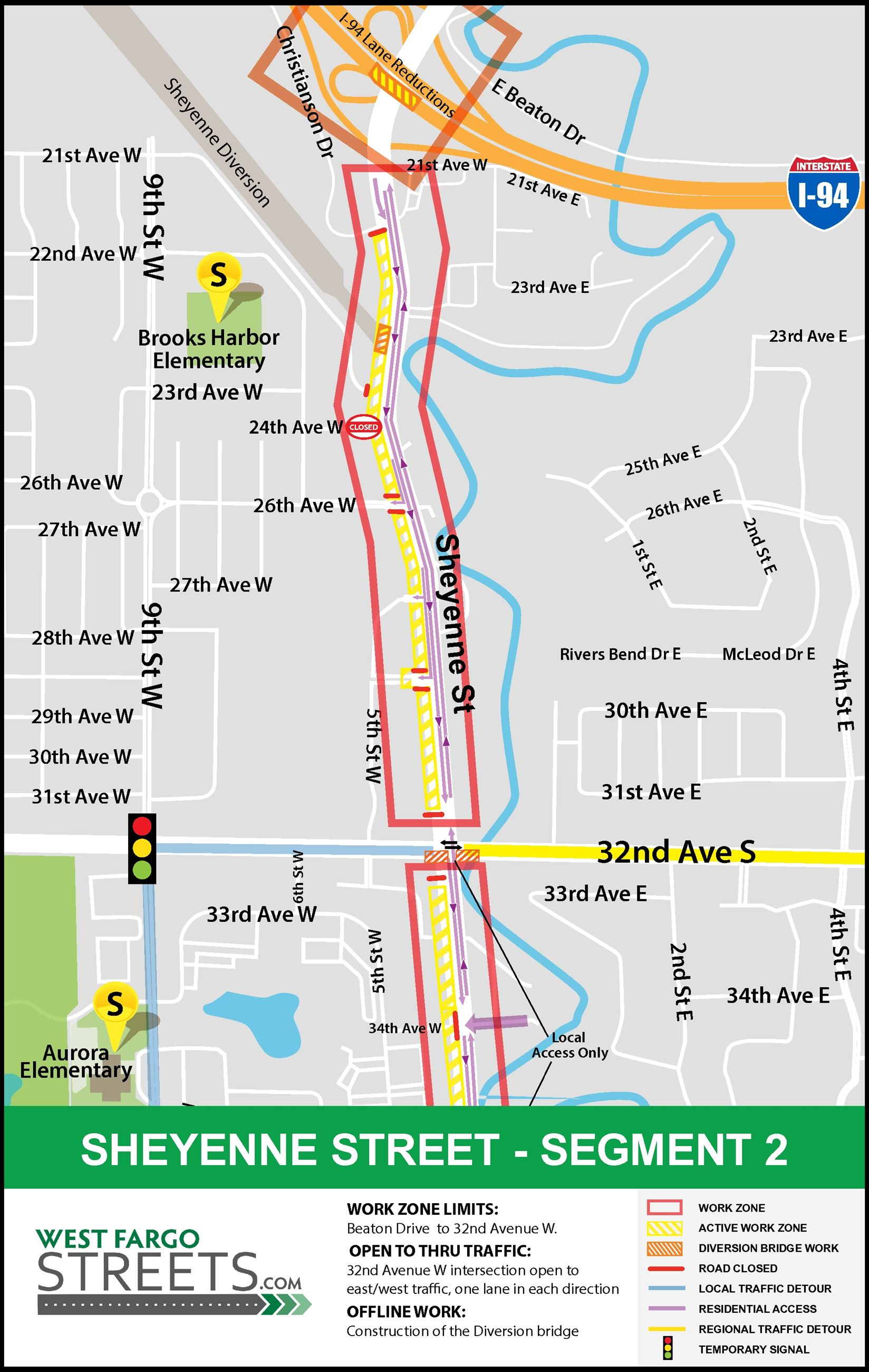 Overview map of Sheyenne Street segment 2 reconstruction as of April 22