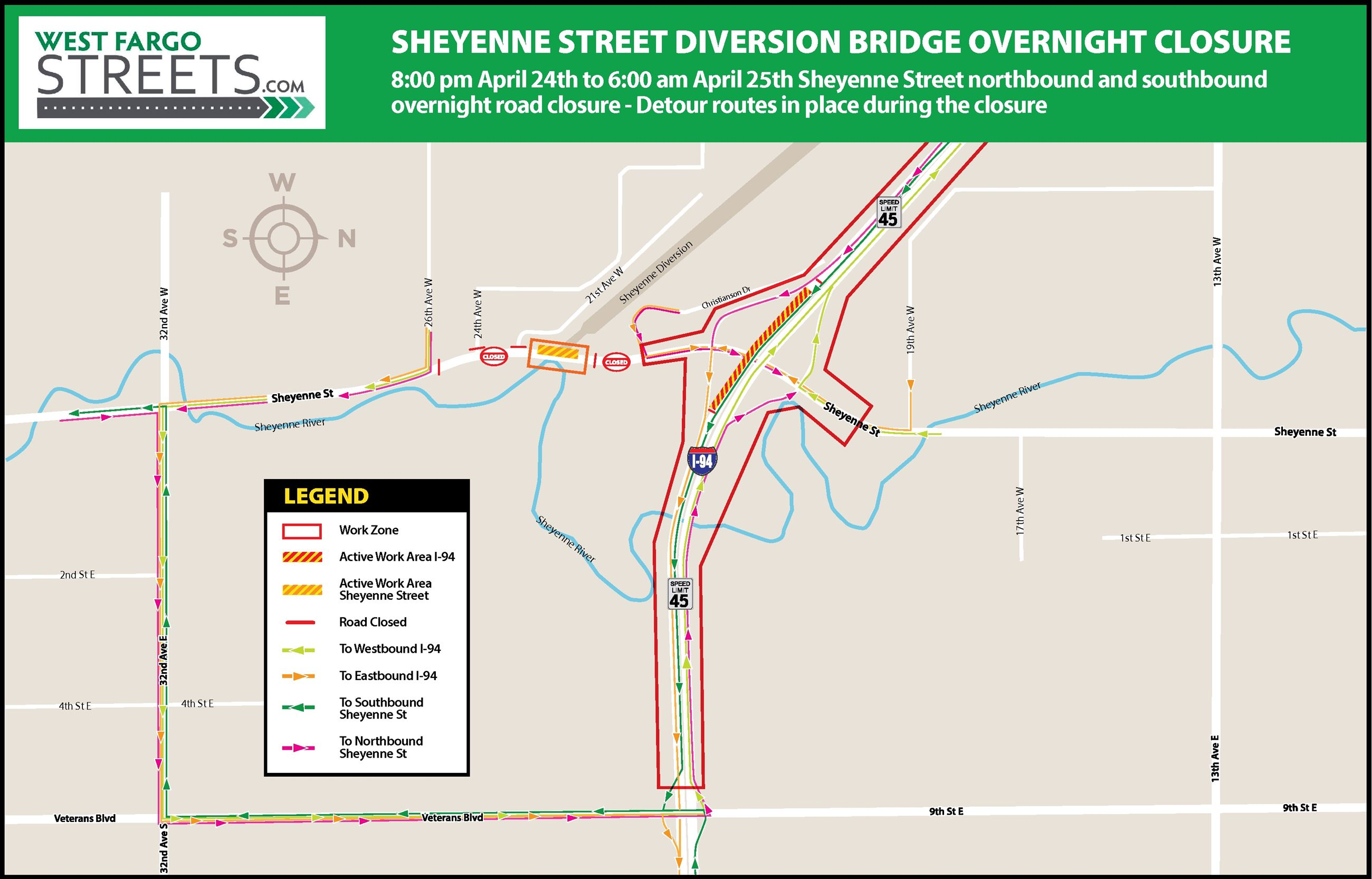 0_overnight_closure_diversion_bridge_Sheyenne_map_a5 Opens in new window